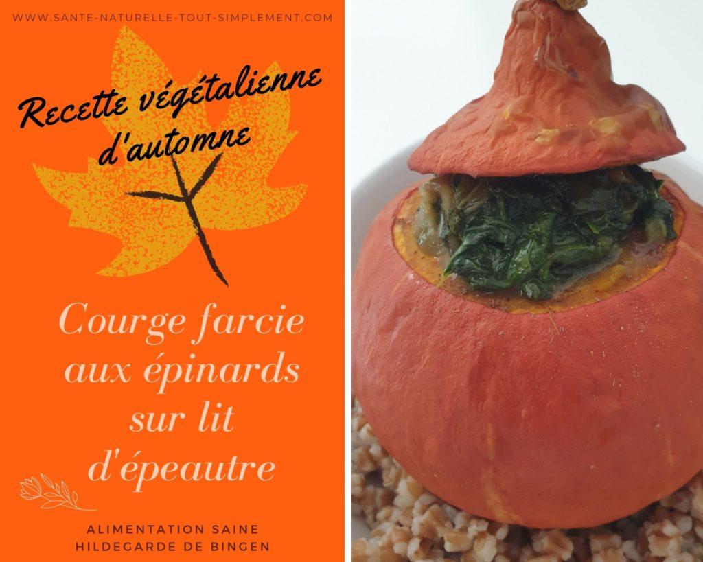 Recette végétalienne d'automne : recette de la courge farcie aux épinards