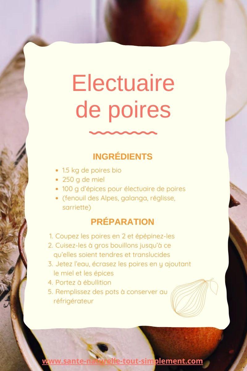 Recette de l'électuaire de poires pour assainissement intestinal